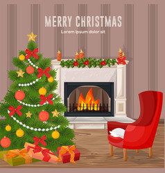 happy holidays card winter fireplace chimney and vector image vector image