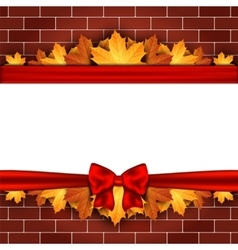 Holiday banner on brick wall with autumn leaves vector
