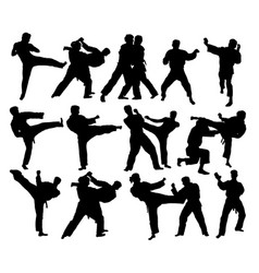 Judo sport activity silhouettes vector