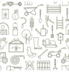 Line pattern farmer gardening tools vector