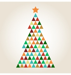 Merry Christmas colorful mosaic tree vector image vector image