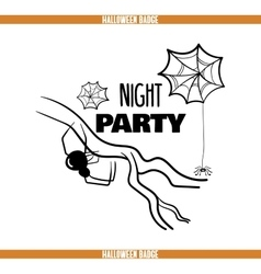Night Party Spider Badge vector image vector image