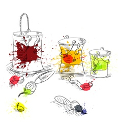 paint brushes with paint cans vector image