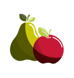 Pear and apple fruit icon stock vector