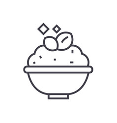 Porridgecereal bowl line icon sign vector