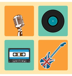 Retro music icons set vector