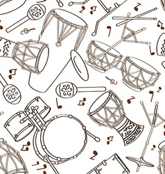 Seamless pattern of drum set vector image