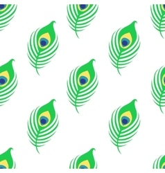 Seamless pattern with peacock feather on white vector image