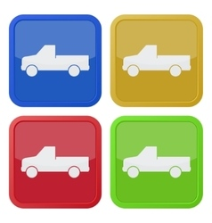 Set of four square icons - pickup with a flatbed vector