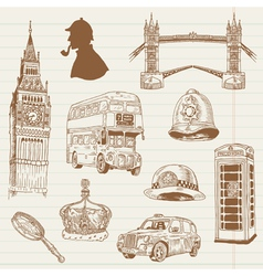 Set of London doodles vector image vector image