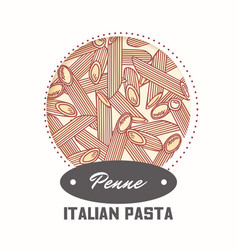 Sticker with hand drawn pasta penne vector