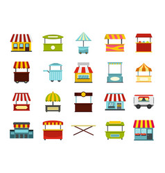 street market icon set flat style vector image