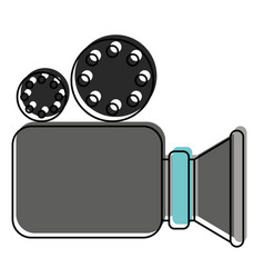 video camera icon in watercolor silhouette vector image