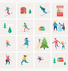 winter holidays icons vector image vector image