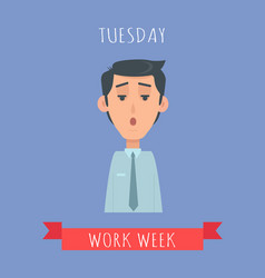 Work week emotive concept in flat design vector