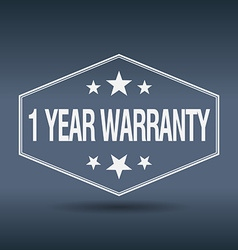 1 year warranty hexagonal white vintage retro vector