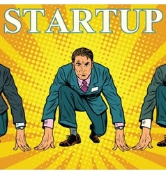 Startup retro businessman on the starting line vector