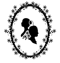 wedding frame silhouette vector image