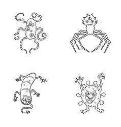 Different types of microbes and viruses viruses vector