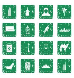 Uae travel icons set grunge vector