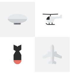 Set of simple plane icons elements airliner vector