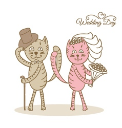 Card wedding day love cats vector