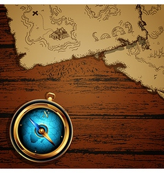 Marine theme compass and map vector