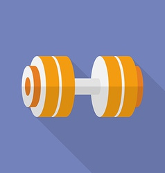 Sport dumbbell icon modern flat style with a long vector