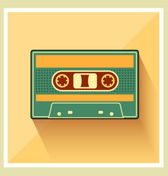 Compact cassette on retro background vector
