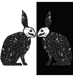 Black rabbits vector