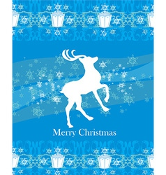 Reindeer flying stars blue background vector