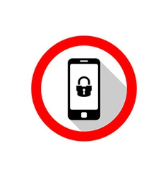 Smartphone with lock icon warning sign with flat vector
