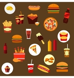 Takeaway and fast food flat icons vector