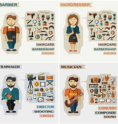Set of professions barber hairdresser filmmaker vector