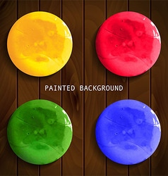 Set of colorful watercolor paint circles vector
