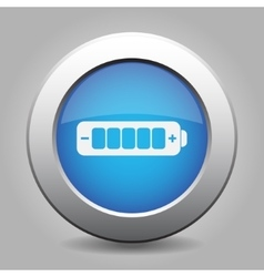 Blue metal button with battery full vector