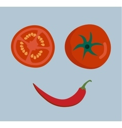 Fresh vegetables smile face on background vector