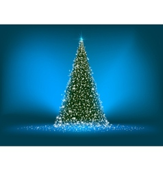 Abstract green christmas tree on blue eps 8 vector