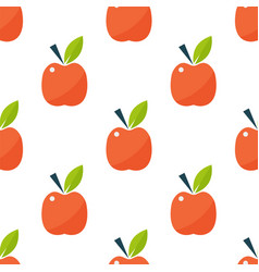 apple background textile red fruits slice seamless vector image vector image