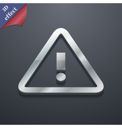 Attention caution icon symbol 3d style trendy vector