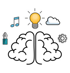 Brain and objects design vector