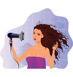 Brunette girl with hairdryer vector