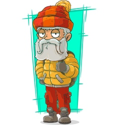 Cartoon old traveler in nylon jacket vector
