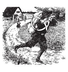 Christian fleeing vintage vector