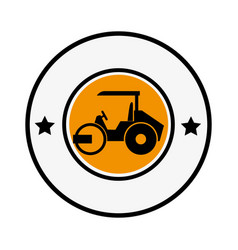 Circular emblem with road roller vector