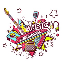 colored set of musical instruments on a l vector image vector image