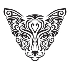 Decorative ornamental cat silhouette vector image