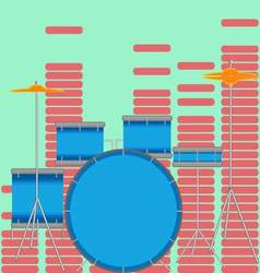 Drum set flat style vector image