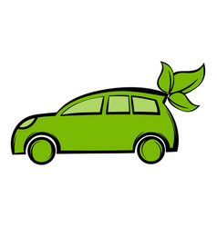 Eco car icon cartoon vector
