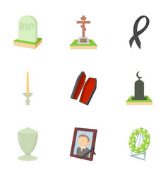 exequies icons set cartoon style vector image